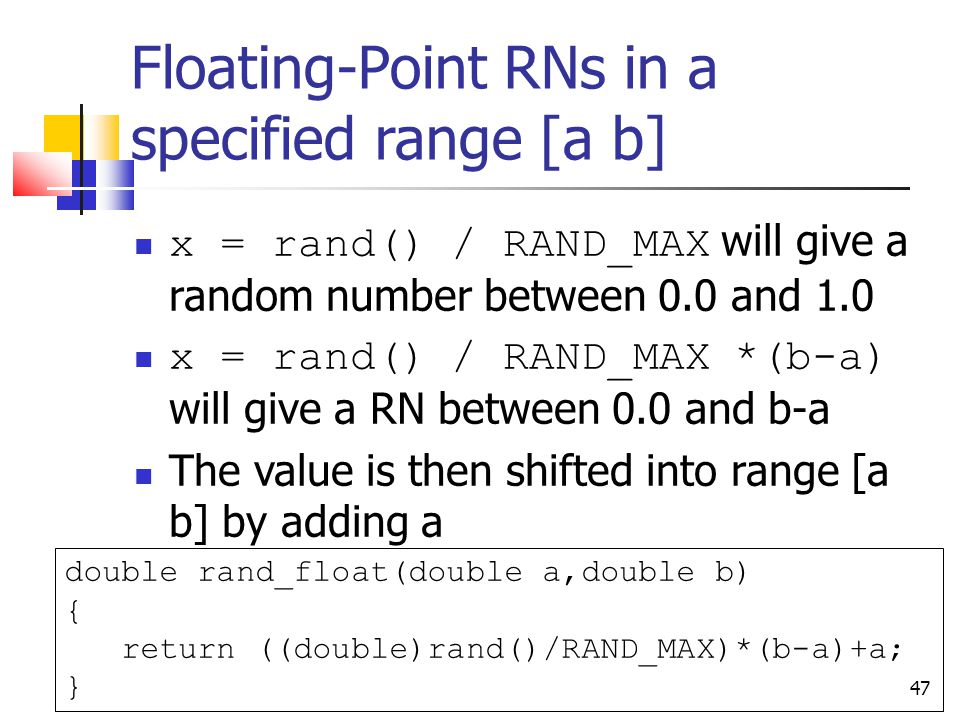 Floating-Point RNs in a specified range [a b]